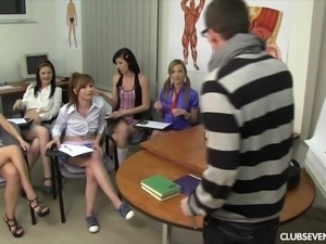 Rita E and her nasty friends attack a fellow for a group sex game