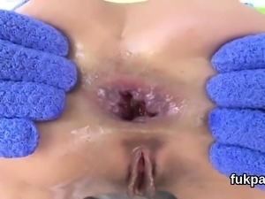 Attractive doll displays oversized fanny and gets anal rode2