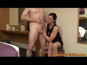 CFNM babe tugs dick while rubbing her pussy