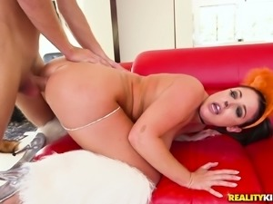 Hot busty Angela White in a fox costume gets screwed so hard, she screams