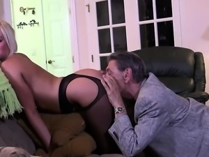 Young blonde gives blowjob and titjob to old guy
