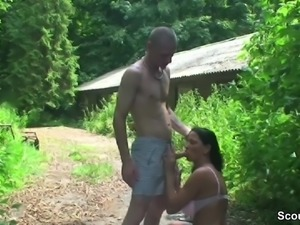 Real Mature Caught Piss Outdoor and Seduce to Fuck by Boy