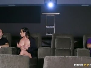 This stunning milf was so horny that she was walking around the movie...