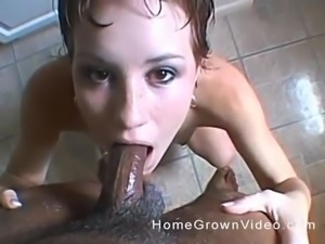 Amateur couple enjoying a blowjob in the bathroom and on the bed