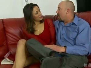 Beefy dude seduces young and appetizing Latina chick