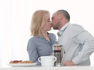 Slim blonde Via Lasciva wants to feel a man's dick during breakfast