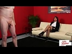 Stunning english voyeur instructs tugging