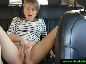Public masturbation and squirting in the car