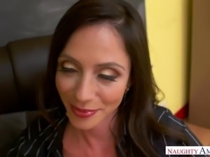 Wild tanned and chunky brunette professor Ariella Ferrera gives a ride