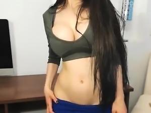 Brunette Teen Striptease In School Bathroom