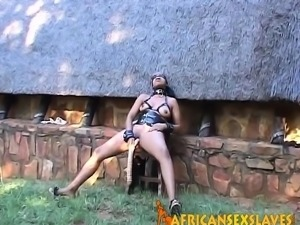 Hot african sex slave getting assistance with her toys