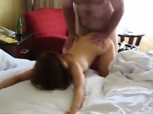 Amateur young couple home hardcore action with facial