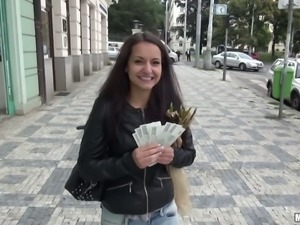 Petite amateur Euro chick gets paid for a blowjob outdoors