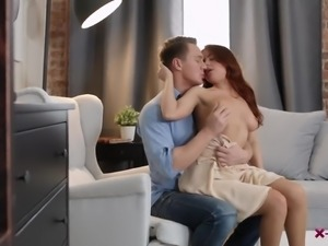 Sexy blue eyed redhead Renata Fox switches from doggy to horny BJ