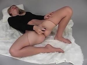 Blonde nylon fetish milf undressing