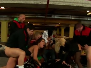 Incredible orgy at the private carting club with insatiable Euro sluts