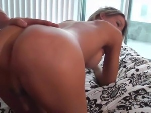 Sexy babe with shaft chokes on a giant penis pending rough throbbing in a...