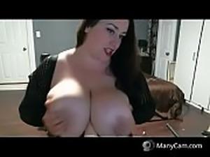 BBW teasing her huge boobs on cam