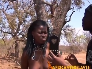 Hot African slave girl bows down to BBC where she is taken outdoors