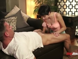 Short haired beauty Cadey Mercury is always willing to suck her client's prick