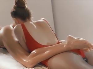 Beautiful Lesbian Massage and Strap-on