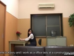 Just natural Japanese office nympho Kaoru Sakaki is fond of some masturbation