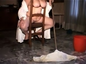 Slutty brunette has a gang of guys hammering her tight holes