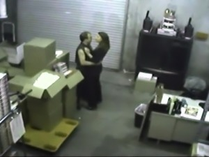 Horny amateur brunette gets caught blowing a cock at work