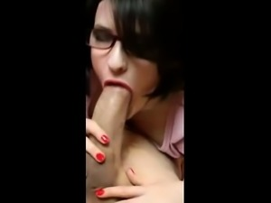 Stunning busty brunette babe big tit pov cock sucking action