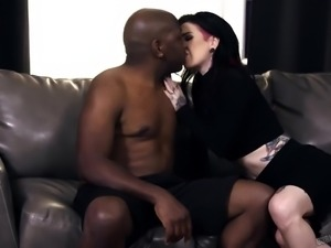 Alternative all tattooed white slut Joanna Angel gets brutally fucked by BBC...