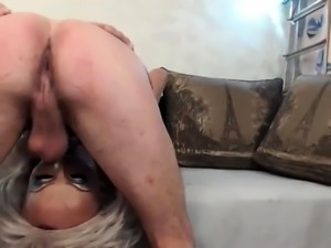 Blonde crossdresser in lingerie deepthroats a fat cock