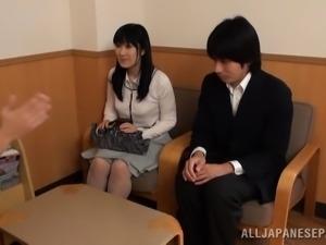 Breathtaking matured Japanese bimbo giving huge dick superb handjob