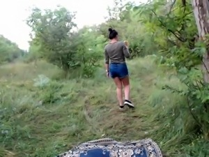 Two naughty teens engage in lesbian action in the outdoors