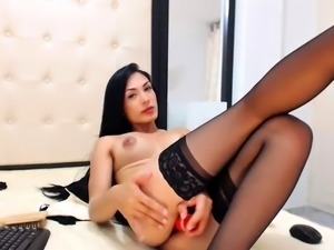 Busty webcam tranny in stockings gets rammed by a cute boy