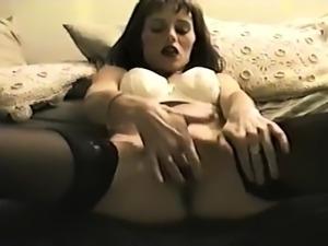 Vintage busty Tiziana Redford solo masturbation
