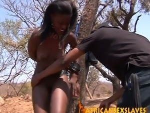 Horny african beauty getting her amazing holes demolished