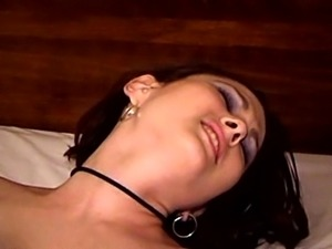 A nasty amateur girl hammers her vagina and ass with big dildos