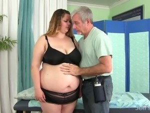 Lazy fatty Babe Rose gets her really meaty pussy teased with a dildo