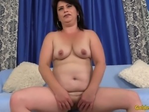 Amazing big racked brunette Jenna Jingles spreads plump legs for mish