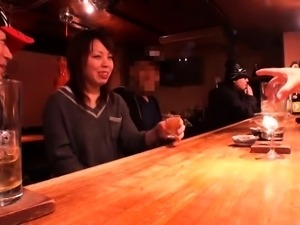 Lovely Japanese wife has two guys banging her hairy slit
