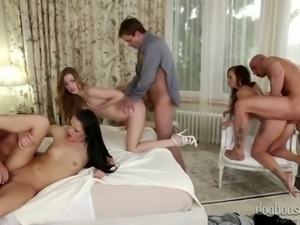 Orgy in the hotel room with three extremely beautiful Euro bitches