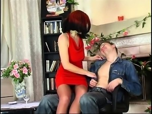 Redhead Mature Seducing Young Guy