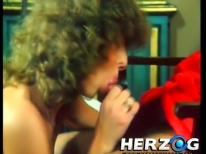 Curly haired vintage wife is really happy to ride stiff dick on top