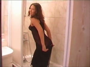 This lovely babe with perky tits is ready for some hot showerhead masturbation