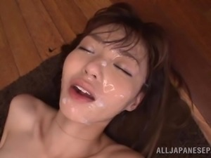 Skinny Japanese Teen Gets A Nasty Facial After Riding A Big Cock