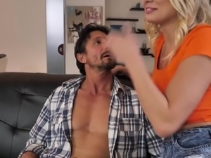 Zealous busty blonde nympho Kenzie Taylor gets nailed by two studs (FMM)