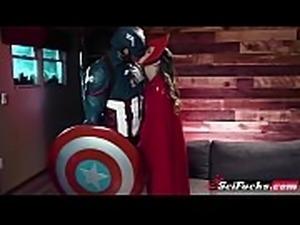 Horny Captain America fucks Scarlet Witch as beautiful Jillian Janson