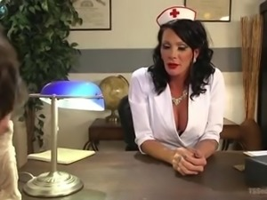 Well-favoured transsexual nurse Morgan Bailey treats naughty patient with...