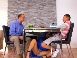 Graduate sucks bfs cock under table