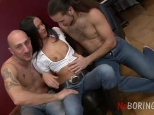 Just ordinary quite pretty leggy slut Vanessa takes double cock penetration